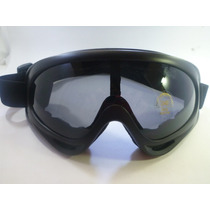 Goggles Tipo Motociclista Lente Color Negro Transparente