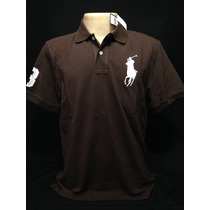 Camiseta Polo Ralph Lauren Marrom Big Poney Branco Tam M
