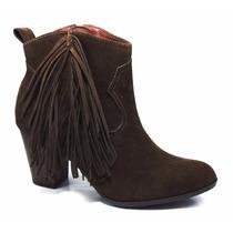 Bota Ankle Boots Feminino Via Marte Franjinha Salto Grosso