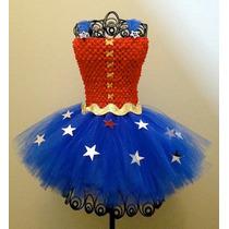 Tutu Dress Para Niña Tallas 1 2 3 4 5 6 7 8 Mujer Maravilla