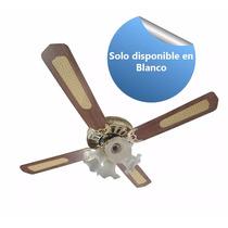 Ventilador Techo Alpaca Tulipas Madera Color Blanco Gl-c52