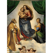 Lienzo Tela Pintura Madona Sixtina Arte Sacro Rafael 1514