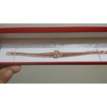 Bracelete De Ouro Vermelho 8 Quilates Com Diamantes