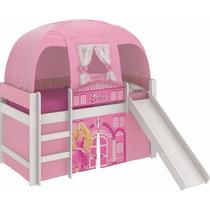 Cama Barbie Play Com Escorregador E Barraca Quarto Menina