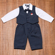 Conjunto Social Meninos Bebês - Calça,camisa,colete,gravata