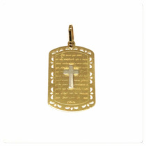 Pingente Medalha Santa Pai Nosso Masculino Ouro Amarelo 18k