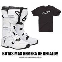 Botas Enduro Alpinestars Tech 3 Motocross Negro / Blanco