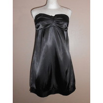 Twenty One! Moderno Vestido Strapless Negro Satinado Talla M
