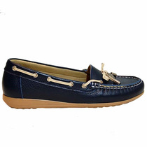 Zapato Mujer Mocasin Cuero Azul Muy Comodo Marta Sixto