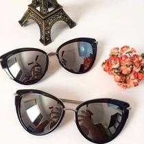 Óculos Sol Feminino Preto Ou Prata Modelo Heart Sem Marca