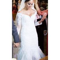 Vestido Noiva Branco Tamanho 36/38 Completo Renda Francesa