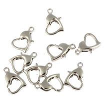 50 Broches Para Collar Cadena Pulsera De Corazón Color Plata