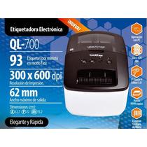 Ql700 Impresora Brother Etiquetadora De Codigos De Barra
