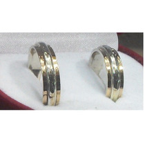Par Argollas Matrimonio Plata Con Oro 18 Ktes Ap003