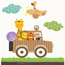 Adesivo Safari Papel Parede Zoo Infantil Bebe Animais Girafa