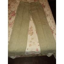 Pantalón Recto Tiro Alto De Poliéster Verde Claro Ted Bodin