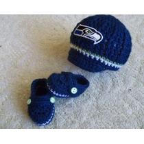 Conjuntos Gorro Pañalero Nfl Patriots Seattle Crochet Tejido