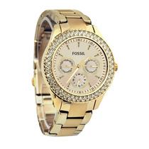 Relógio Feminino Dourado Fossil Es3101 Stella Novo Original