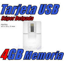 Tarjeta Super Delgada Usb 4gb Slim Data Mini Cartera Gratis