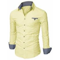 Camisa Social Slim Premium Estilo Dubai Detalhes Em Xadrez