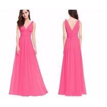 Vestido Ever Pretty Pink Em Chifon Com Strass Pronta Entrega