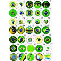 100 Botons Botton Broches 2,5 Bandeira Do Brasil - Br