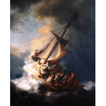 Lienzo Tela Cristo En La Tormenta Lago De Galilea 62 X 50 Cm