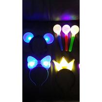 100 Diademas Surtidas Mickey Mimi Corona Luz Colores Fiesta