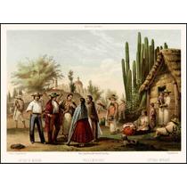 Lienzo Tela Grabado Trajes Mexicanos Casimiro Castro 1855