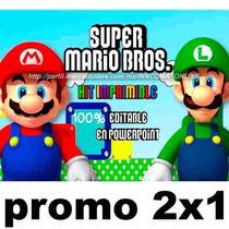 Kit Imprimible Mario Bros, 100% Editable En Powerpoint 2x1