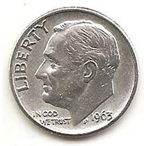Estados Unidos Moneda 1 Dime De Plata 10cts. Año1963d#