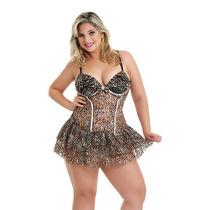 Camisola Giovana Plus Size Onça Tamanho Grande Sexy Sensual