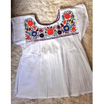 Blusa Mexicana Camisola Bordada A Mano 100% Algodón