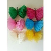 Flores Mariposas Pompones En Papel Seda 25cm