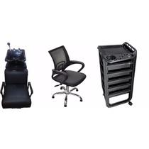 Combo Lavacabeza Grif. Bronce+silla Corte Cromada+ayudante