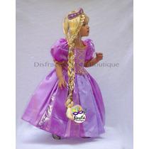 Vestido Peluca Tiara Rapunzel Set Tipo Disney Disfraz