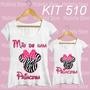 Kit Tal Mãe Tal Filha Minnie Laço Princesa Blusa Camiseta