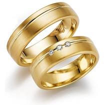 Par De Alianças Bem Casados Ouro 18 K Mais Diamantes