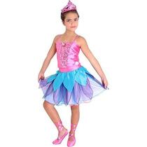 Fantasia Barbie Sapatilhas Mágicas Luxo M - Rosa E Azul