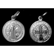 Pingente Medalha De Sao Bento Em Pre De Prata