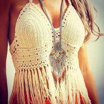 Bikini Top Crop Tejido Crochet Flecos