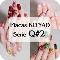 10 Placas Konad Tamaño Xxxl Serie Q#2 Decoracion Uñas Disco