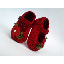 A 122 Sapatinho Croche Feminino Vermelho Bebe Enxoval Menina