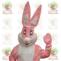 Cabeção De Coelho Mascote Pelúcia Fantasia Para Páscoa Rosa