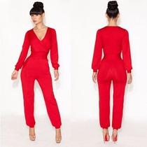 Palazzo Jumpsuit Body Rojo Pantalón Vestido Talla Chica 32 S