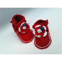 A192 Sandalinha De Croche Feminina Sandalia Vermelho Flor