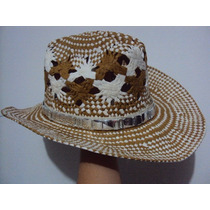 Chapéu Cowboy Branco Marrom Feminino Cowgirl Rodeio Praia