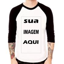 Camiseta Personalizada Frente E Verso Raglan 3/4 100%algodão