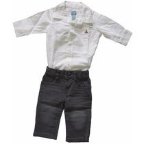 Conjunto Body Camisa Social Calça Jeans Baby Gap Menino