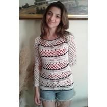 Sweater Calado Tejido Crochet Hilo Rayas Primavera Verano
